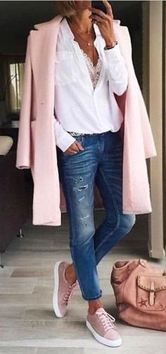 #fall #outfits women's pink coat, white top, whiskered faded jeans, and pair of pink low top sneakers