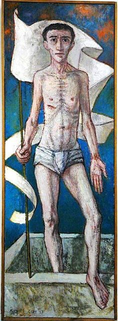 "Michel Ciry, The Risen Christ. ""The twentieth century has seen a de-mythologizing of Christian beliefs. Jesus' humanity has been emphasized at the expense of his divinity. The idea of the 'historical Christ' has taken a firm hold of the modern mind, at the expense of Jesus as God. Modern 'rational' thinking means that everything has to be 'provable fact.' Hence, Ciry paints a 20th century Risen Christ who looks very like Dan, the nice man in the local Deli."""