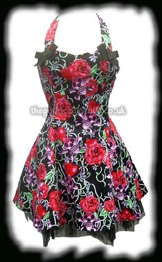 Skulls & Roses Tattoo Print Halter Necked Dress.... this is the dress Emma buys in The Ghost of Josiah Grimshaw