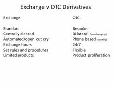 Pocket : Exchange v OTC derivatives