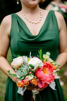 Vintage Wedding at Mercury Hall with Hints of Green Bridesmaid in gorgeous emerald green with a pop Vintage Style Bridesmaid Dresses, Forest Green Bridesmaid Dresses, Emerald Bridesmaid Dresses, Forest Green Dresses, Emerald Green Dresses, Wedding Bridesmaids, Green Bridesmaids, Bridesmaid Outfit, Prom Bouquet