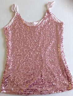 Boston Proper Sequin Top Blouse Tank Size Medium Pink Filly Lined #BostonProper #SequinTop