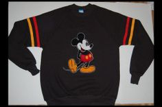 Disney Vintage Mickey Mouse XL Black Rare 80s Shirt Retro Mod Hipster Sweatshirt