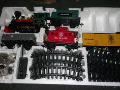 NEW B/O Grand Canyon Wireless Remote Control Train Demonstration COMPLETE This train blows real smoke with household oil. There is a little man on one coal car and on inside other train car. Lights up and makes sounds. Train is a large set. Asking $150 OBO  http://cgi.ebay.com/ws/eBayISAPI.dll?ViewItem&item=111312411142
