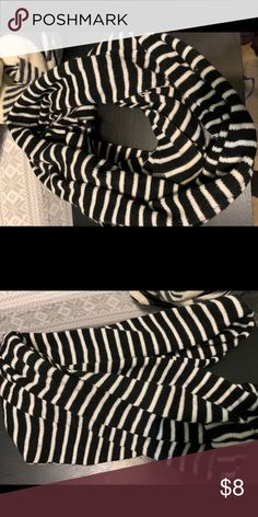 Infinity scarf Black and white stripped scarf, makes two loops and is comfortable around neck Accessories Scarves & Wraps Neck Accessories, Animal Print Rug, Scarf Wrap, Infinity, Scarves, Wraps, Black And White, Closet, Things To Sell
