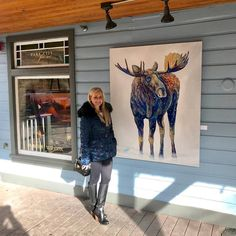 Hanging out with Charlie Acrylic on Panel) at Park City Fine Art on beautiful and historic Main Street in Park City, Utah! Mini Paintings, Animal Paintings, Original Paintings, Colorful Animals, Foto Art, Wildlife Art, Park City, Main Street, Painters