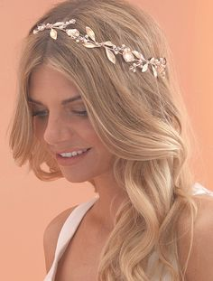 Rose Gold Bridal Hairvine with Enamel Leaves by Arianna Tiaras