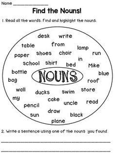 Nouns Worksheets by Dana's Wonderland Nouns First Grade, First Grade Worksheets, School Worksheets, Grade 2, Lkg Worksheets, Counseling Worksheets, Blends Worksheets, Hindi Worksheets, Money Worksheets