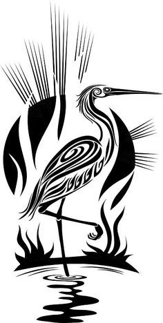 Used this image in one of my Pyrography projects. Black heron vector on VectorStock® Stencil Patterns, Stencil Art, Stenciling, Native Art, Native American Art, Tribal Bird Tattoos, Tattoo Bird, Tribal Tattoo Designs, Heron Tattoo