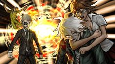 this fucking picture from sdr2 fucking cracks me up because owari komaeda and kuzuryuu look all bad ass and serious… and then theres souda.