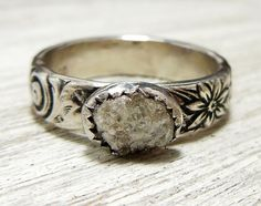 Rustic Engagement Ring, Rough Uncut Diamond Ring, Sterling Silver Pattern Band Floral Swirl Design on Etsy, $240.00
