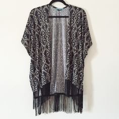 !!! Frinage Kimono Cardigan !!! !!! NWOT, open-front kimono featuring a allover tribal pattern with short sleeves and fringed hem !!! Julie's Closet  Tops Blouses