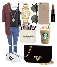 """""""Fashion #005"""" by stark-mclearen ❤ liked on Polyvore featuring Topshop, Kavu, WearAll, adidas, Michael Kors, Agent 18, Ray-Ban, Smashbox, Prada and frapp"""