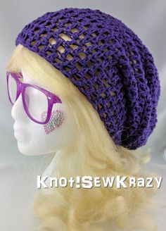 Crochet Slouchy Beanie  Purple by roxygal48 on Etsy, $20.99