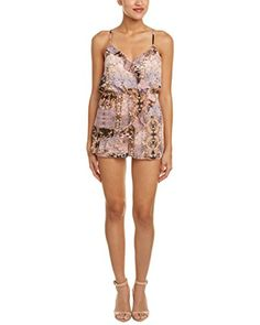 BCBGeneration Womens Wrap Front Ruffle Romper Cedar Rose Multi Large ** Check out this great product.