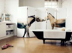 Could be useful at keeping cats out of my dining room area...equestrian-inspired room divider