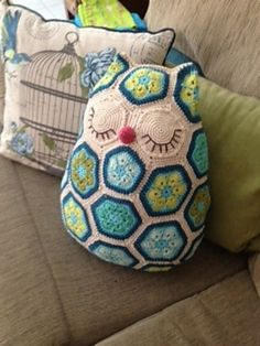 African flower owl pillow