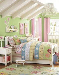 """Nursery colors are pink/green.. good transition to """"big girl"""" bedroom with same color combo :)"""