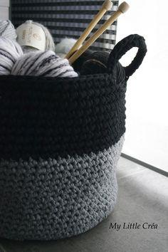 Panier XXL bi couleur #crochet #crochetXL