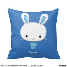 Personalized Blue Pillows With Cute Kawaii Bunny