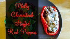 Philly Cheesesteak Stuffed Red Peppers - Tender, juicy steak, mouthwatering sauteed mushrooms and caramelized onions inside a fresh red pepper and topped with mozzarella cheese.  Nom, nom, nom.  So good.