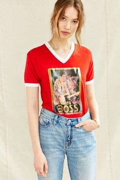 Vintage V-Neck The Boss Tee - Urban Outfitters