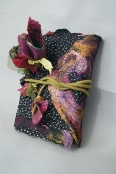Nuno Felted Journal Cover with Nuno Flowers a Sugarplum Original by J. Gauger.