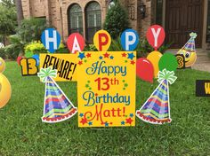 Happy Birthday Decorations For The Yard These Bright Colors Party Hats Balloons Are Amazing By Flamingos2go
