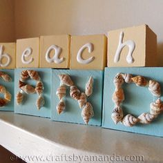 Ideas for Seashell Project Displays | Seashell Beach Blocks - Free Crafts, Handmade Gift Ideas, DIY Projects ...