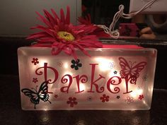 Butterfly Girls Glass Block Night Light by JLHCreativeDesigns