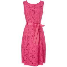 Precis Petite Lace Prom Dress, Pink ($97) ❤ liked on Polyvore featuring dresses, petite, maxi dress, lace prom dresses, lace dress, prom dresses and long-sleeve mini dress