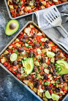This paleo breakfast is a great low maintenance sheet pan breakfast that is bursting with flavor from spicy chorizo, crispy potatoes, and roasted bell peppers! It is a perfect paleo egg free breakfast Free Breakfast, Breakfast Dishes, Healthy Breakfast Recipes, Breakfast Ideas, Brunch Recipes, Chorizo Breakfast, Brunch Ideas, Eat Breakfast, Egg Free Recipes