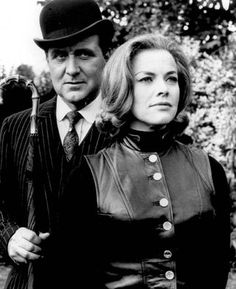 Patrick MacNee (as John Steed) and Honor Blackman (as Cathy Gale) in The Avengers.