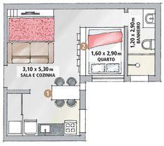 Apartamento minúsculo (de 26 m²) ganhou espaços com a marcenaria -
