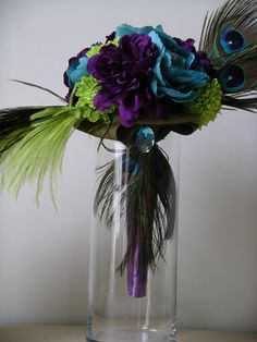 COUTURE Peacock Feather  BOUQUET  & BOUTONNIERE Set  in Purple, Lime Green and Turquoise