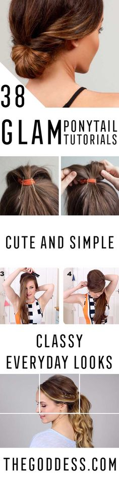 Glam Ponytail Tutorials - Simple Hairstyles and Pony Tails, Messy Buns, Dutch Braids and Top Knot Updo Looks - With and Without Bobby Pins - Awesome Looks for Short Hair and Girls with Curls - thegoddess.com/glam-ponytail-tutorials
