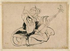 Seated Woman with Shamisen - Katsushika Hokusai