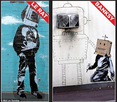 Spot the difference: How the earlier works by Parisian artist Blek le Rat compare with Banksy's graffiti style