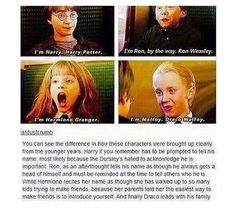 Harry Potter Ron Weasley Hermione Granger and Draco Malfoy Introductions Harry Potter World, Harry Potter Jokes, Harry Potter Universal, Harry Potter Fandom, Drarry, Dramione, Ron Weasley, Hermione Granger, Fandoms