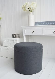 Westhampton soft gret storage dressing table stool
