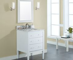 Manhattan 24 Contemporary Bathroom Vanity White Finish Solid Birch