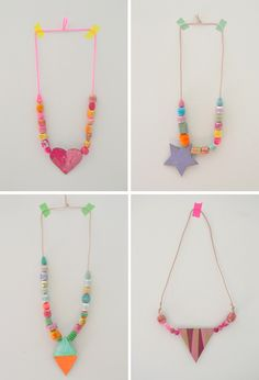 KID MADE || wooden beads painted with liquid watercolors + painted cardboard shapes