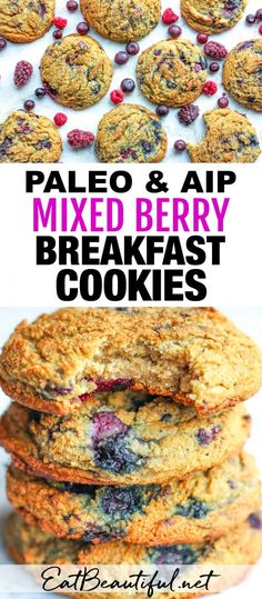 Paleo and AIP Mixed Berry Breakfast Cookies are fun, berry-rich cookies that're healthy and easy to make! Enjoy for breakfast, snack, lunch time or dessert! Egg-free, nut-free, dairy-free and grain-free. | Eat Beautiful || #aip #paleo #cookies #breakfast #snack #berry #eggfree Paleo Dessert, Real Food Recipes, Cooking Recipes, Kitchen Recipes, Disney Recipes, Disney Food, Paleo Recipes, Easy Recipes, Grain Free