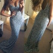 Luxurious Spaghetti Straps Long Prom Dress for Women with Beaded
