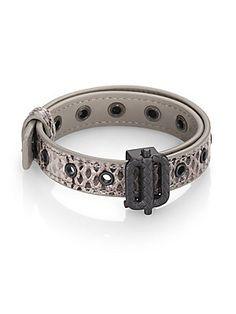 Bottega Veneta Snake-Embossed Leather Bracelet