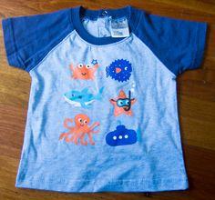 Printed Tee Sealife Story - Ricochet Baby. 0-3 months. From Grandma Tan.