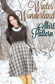 Ice and Wood Buffalo Check: Winter Wonderland Free Skirt Pattern #freepattern #sewing #skirt
