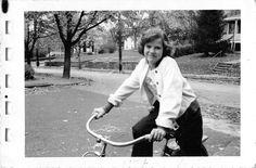 Black and White Vintage Snapshot Photograph Girl Riding Bicycle Smile 1950'S | eBay