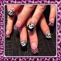 Skulls and pink leopard by Oli123 - Nail Art Gallery nailartgallery.nailsmag.com by Nails Magazine www.nailsmag.com #nailart