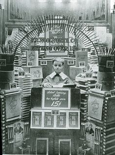 An unusual display of back to school items at a Woolworth store in Pine Bluff, Arkansas, USA in about 1930 Display Windows, Store Window Displays, Back To School Displays, British Sweets, Arkansas Usa, Pine Bluff, School Store, Penny Arcade, Vintage Display